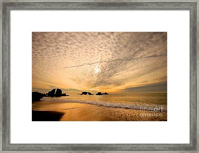 Golden Glow Of A Sunset Over Goat Rock California Framed Print by Wernher Krutein