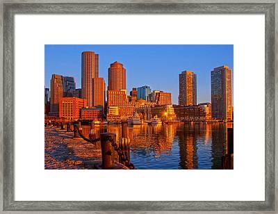 Golden Glow Over Boston Harbor Framed Print
