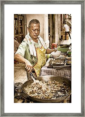 Golden Glow - South East Asian Street Vendor Cooking Food At His Stall Framed Print