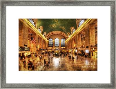 Golden Grand Central Framed Print by Yhun Suarez