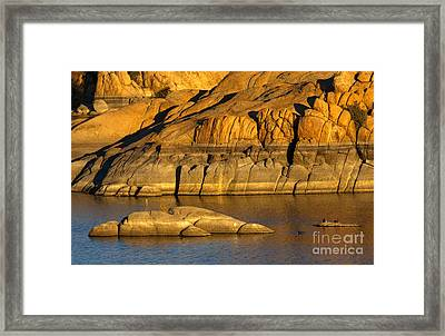 Golden Granite Glow Framed Print by Mike  Dawson