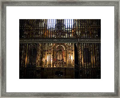 Golden Grills Of Segovia Cathedral Framed Print by Lorraine Devon Wilke