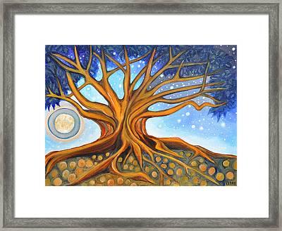 Golden Haloed Moon Framed Print by Cedar Lee