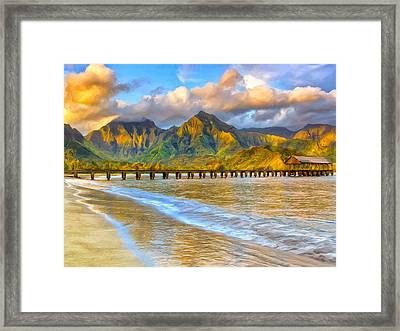 Golden Hanalei Morning Framed Print