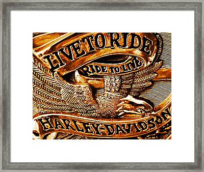 Golden Harley Davidson Logo Framed Print by Chris Berry