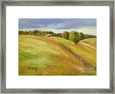 Framed Print featuring the painting Golden Hills by Sally Simon