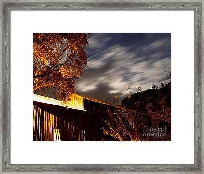 Golden Honeyrun Covered Bridge Framed Print by Peter Piatt