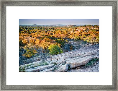 Golden Hour Light Enchanted Rock Texas Hill Country Framed Print