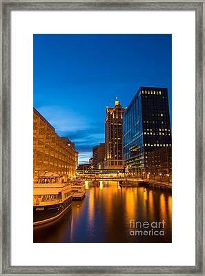 Golden Hour Milwaukee River Framed Print