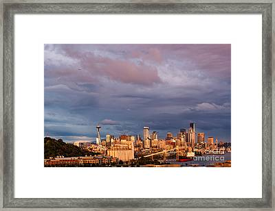 Golden Hour Reflected On Downtown Seattle And Space Needle - Seattle Washignton State Framed Print by Silvio Ligutti