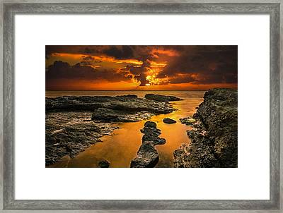 Golden Kailua Beach Sunrise In Oahu Framed Print