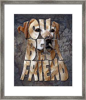 Golden Labrador Retriever Typography Art Framed Print by Georgeta Blanaru