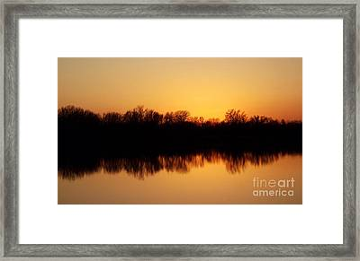 Golden Lake Reflections Framed Print by R McLellan