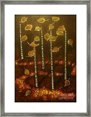 Golden Leaves 2 Framed Print by Elena  Constantinescu