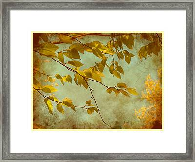 Framed Print featuring the digital art Golden Leaves-2 by Nina Bradica