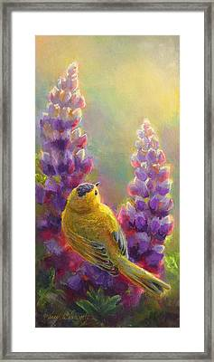 Golden Light 1 Wilsons Warbler And Lupine Framed Print by Karen Whitworth