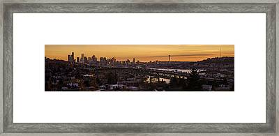 Golden Light On The City Seattle Framed Print by Mike Reid