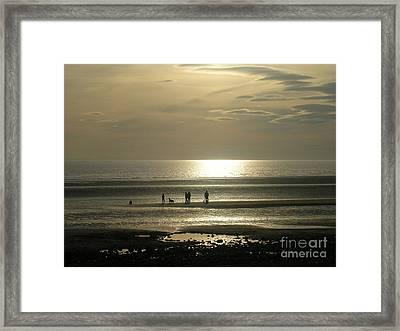 Golden Light On Walney Beach Framed Print by Avis  Noelle