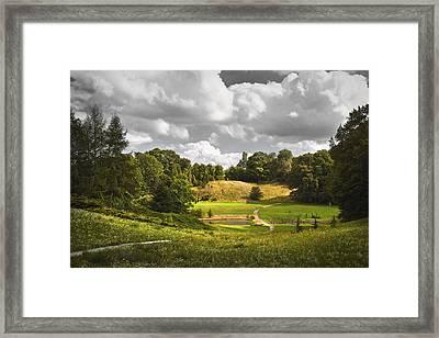 Golden Lit Valey Framed Print