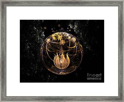 Golden Lotus In Deep Space Framed Print by Peter R Nicholls