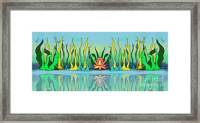 Golden Lotus Framed Print by Linda Seacord