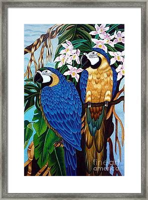 Golden Macaw Hand Embroidery Framed Print