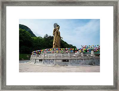 Golden Maitreya Statue, Beopjusa Temple Framed Print by Michael Runkel