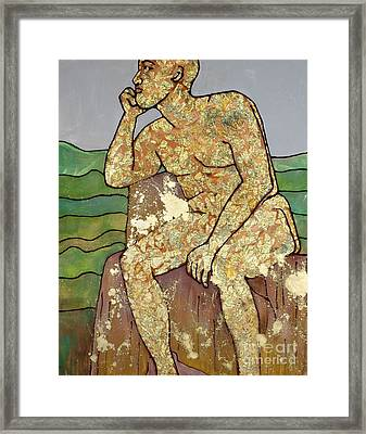 Golden Man Thinking Framed Print by Cynthia Parsons