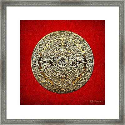 Golden Mayan-aztec Calendar On Red Framed Print by Serge Averbukh