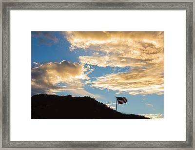 Golden Moment For Our Flag Framed Print