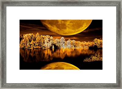 Framed Print featuring the photograph Golden Moon Pond by David Stine