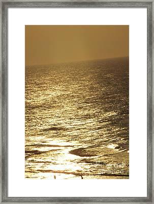 Golden Moonlight Or Moon Surface Framed Print by Gail Matthews