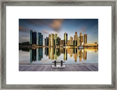 Golden Morning In Singapore Framed Print by Zexsen Xie