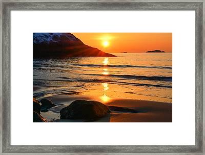 Golden Morning Singing Beach Framed Print by Michael Hubley