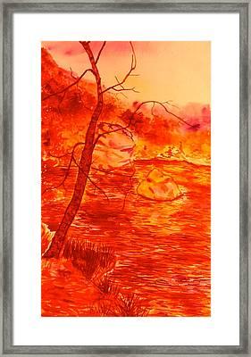 Golden Mountain Lake Morning  Framed Print by Kendall Kessler