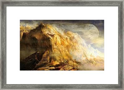 Golden Mountains Of An Alien Earth Framed Print by Ernest Tang