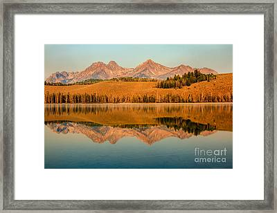Golden Mountains  Reflection Framed Print by Robert Bales