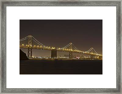 Golden Night On The Bay Framed Print by Miguel  Uribe