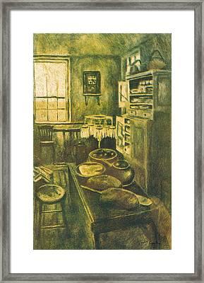 Golden Old Fashioned Kitchen Framed Print by Kendall Kessler