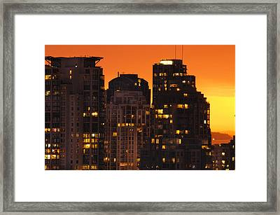 Framed Print featuring the photograph Golden Orange Cityscape Dccc by Amyn Nasser