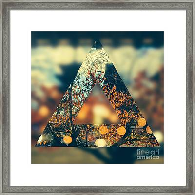 Golden Orange Fall Triangle Framed Print by Beverly Claire Kaiya