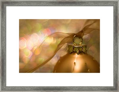 Golden Ornament With Ribbon Framed Print