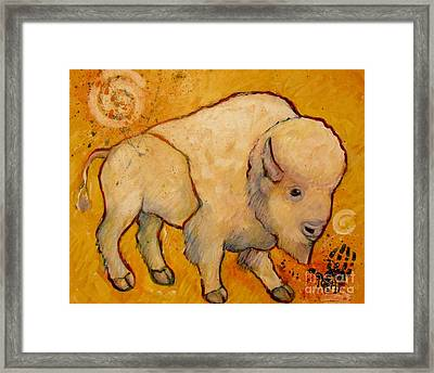 Golden Peace White Buffalo Framed Print