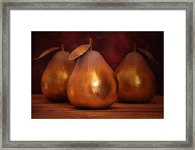 Golden Pears I Framed Print by April Moen