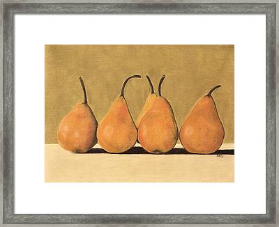 Framed Print featuring the pastel Golden Pears  by Jan Amiss