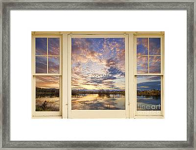 Golden Ponds Scenic Sunset Reflections 4 Yellow Window View Framed Print