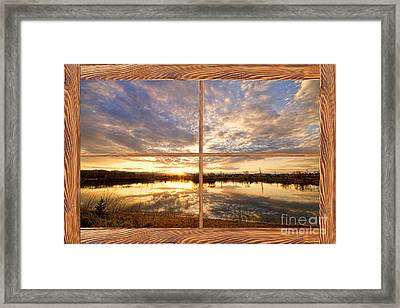 Golden Ponds Sunset Reflections  Barn Wood Picture Window View Framed Print by James BO  Insogna