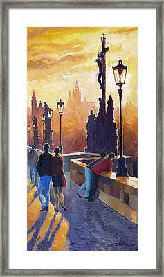 Golden Prague Charles Bridge Framed Print by Yuriy Shevchuk