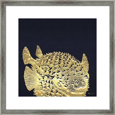 Golden Puffer Fish On Charcoal Black Framed Print by Serge Averbukh