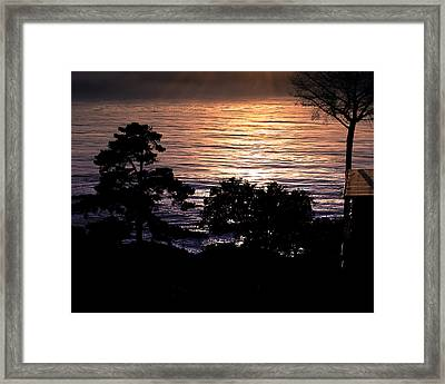 Golden Rays Of Sunset On The Water Framed Print by William Havle